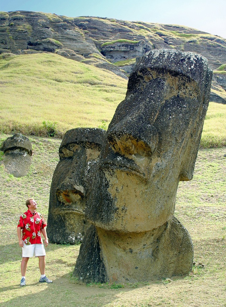 Easter Island, Chile, South Pacific. Me and the giant Moai monolithic statues at Rano Raraku