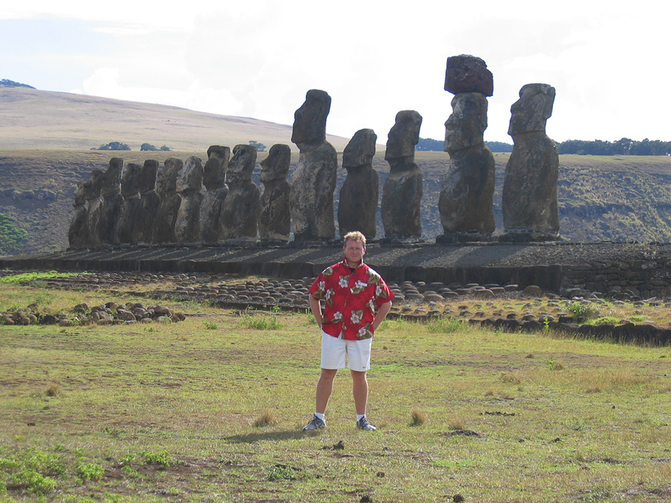 Easter Island, Chile, South Pacific. The imposing 15 giant Moai monolithic statues of Ahu Tongariki