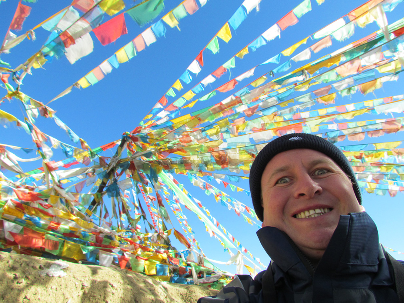 Friendship highway, Tibet, China. Dealing with endless nose bleeds and prayer flags galore!