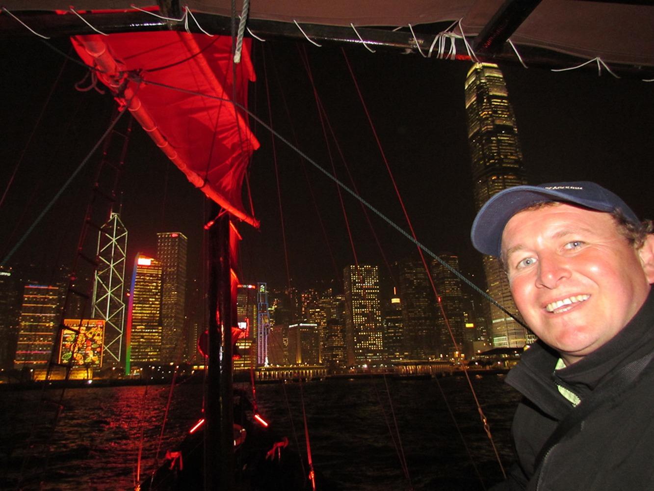 Hong Kong, China. Taking the night Junk from Kowloon