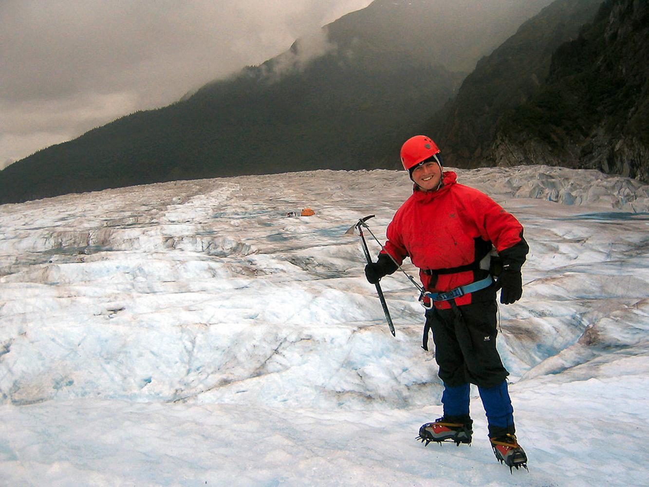 Juneau, Alaska, USA. Hiking up the Mendenhall glacier