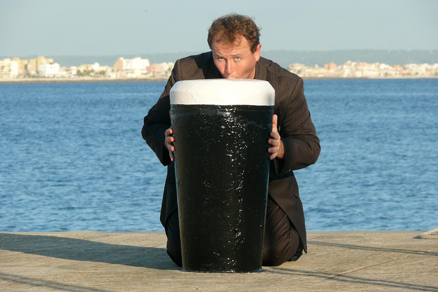 Palma De Mallorca, Spain. Drinking the giant pint of Guinness!
