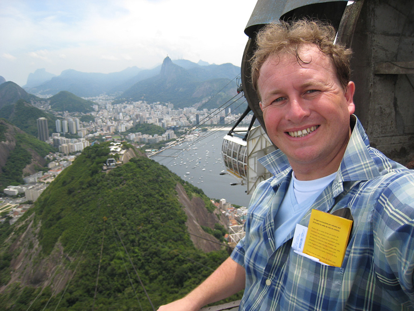 Rio, Brazil. Sugar loaf mountain looking out towards Corcovado and the statue of Christ