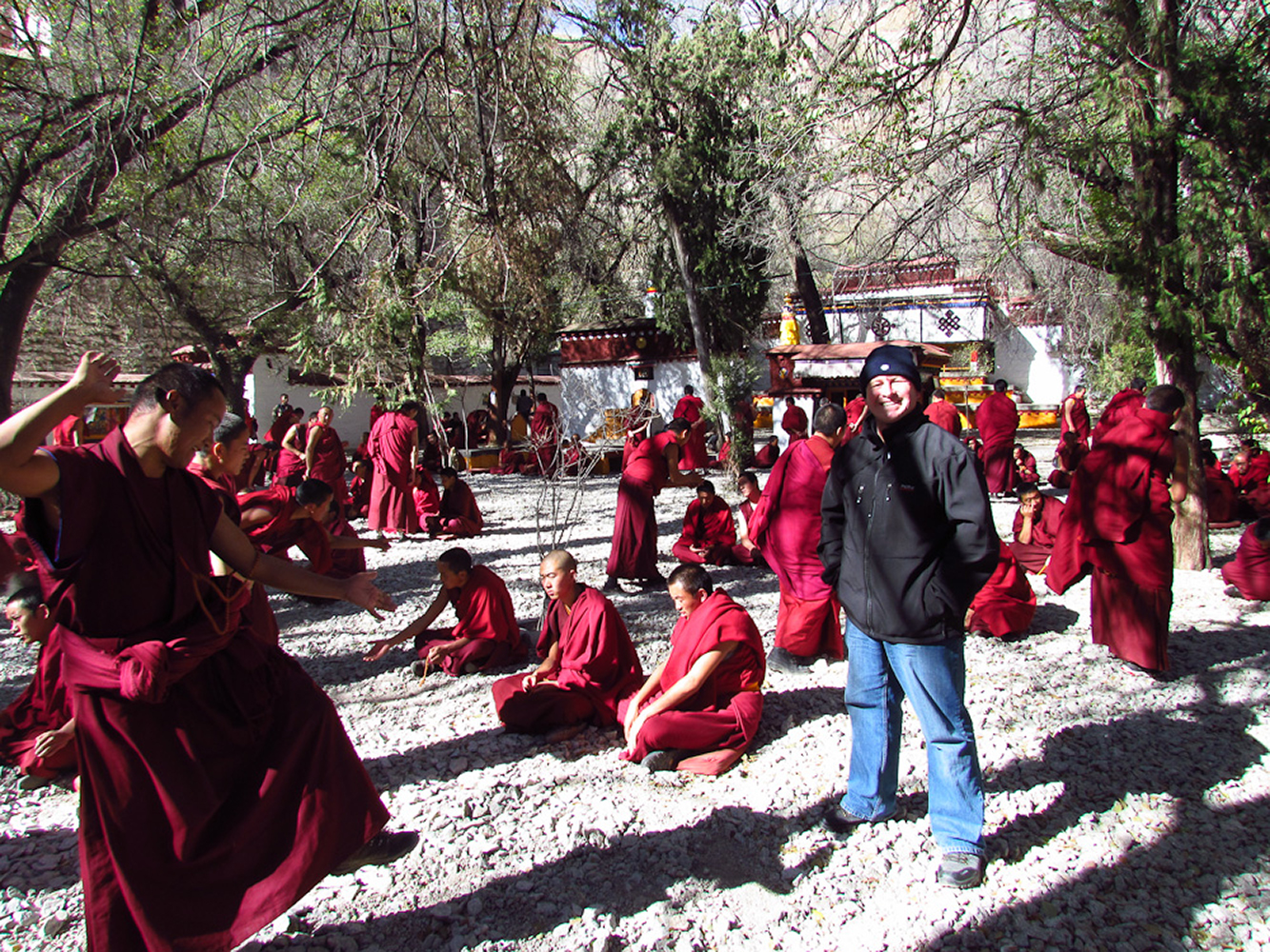 Sera monastery, Tibet, China. In the middle of a Monk debate