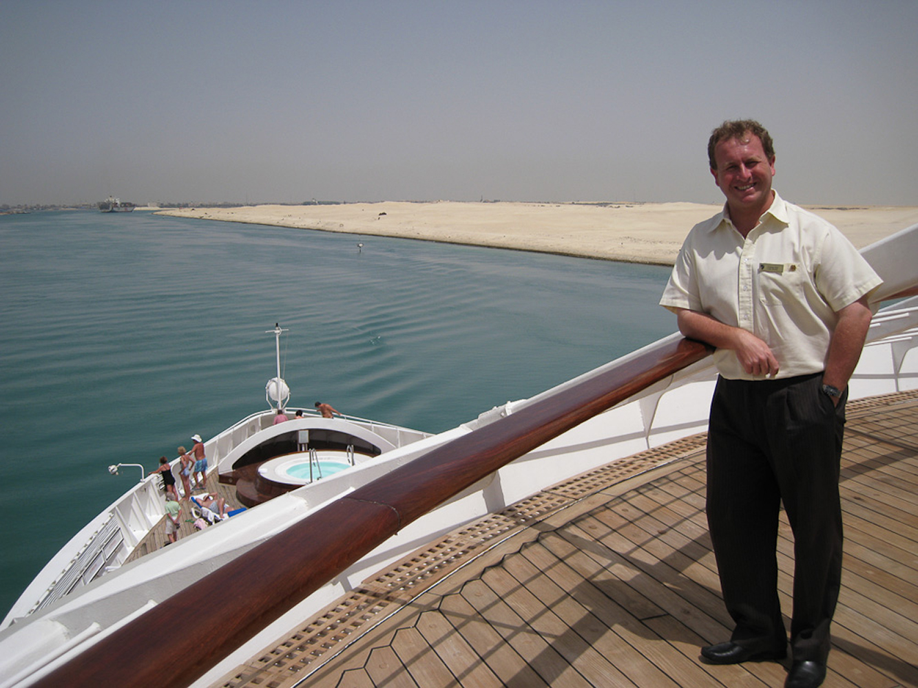 Suez Canal, Egypt. Cruising through the desert on the highway to India