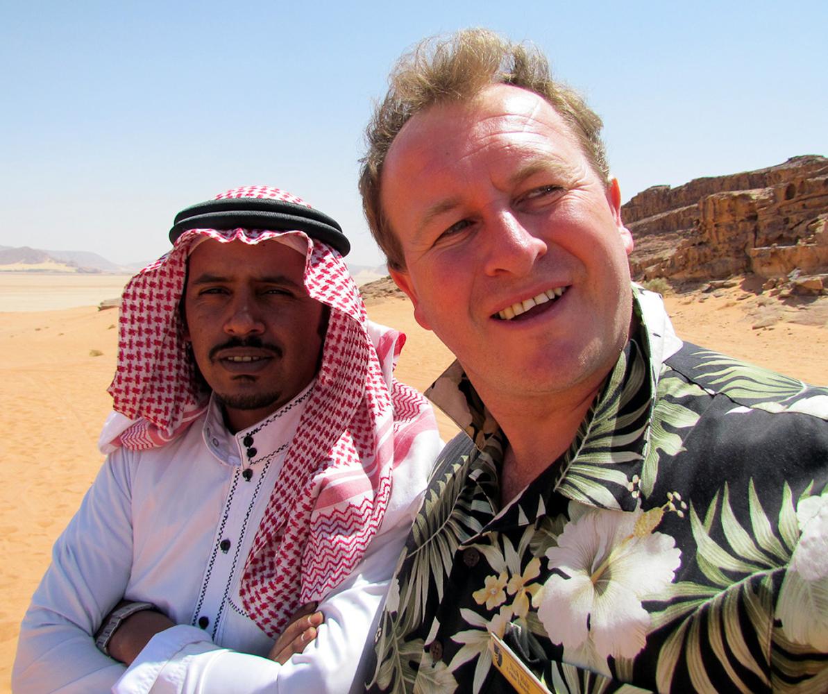 Wadi Rum, Jordan. In the desert with my guide Mustafa tea towel!