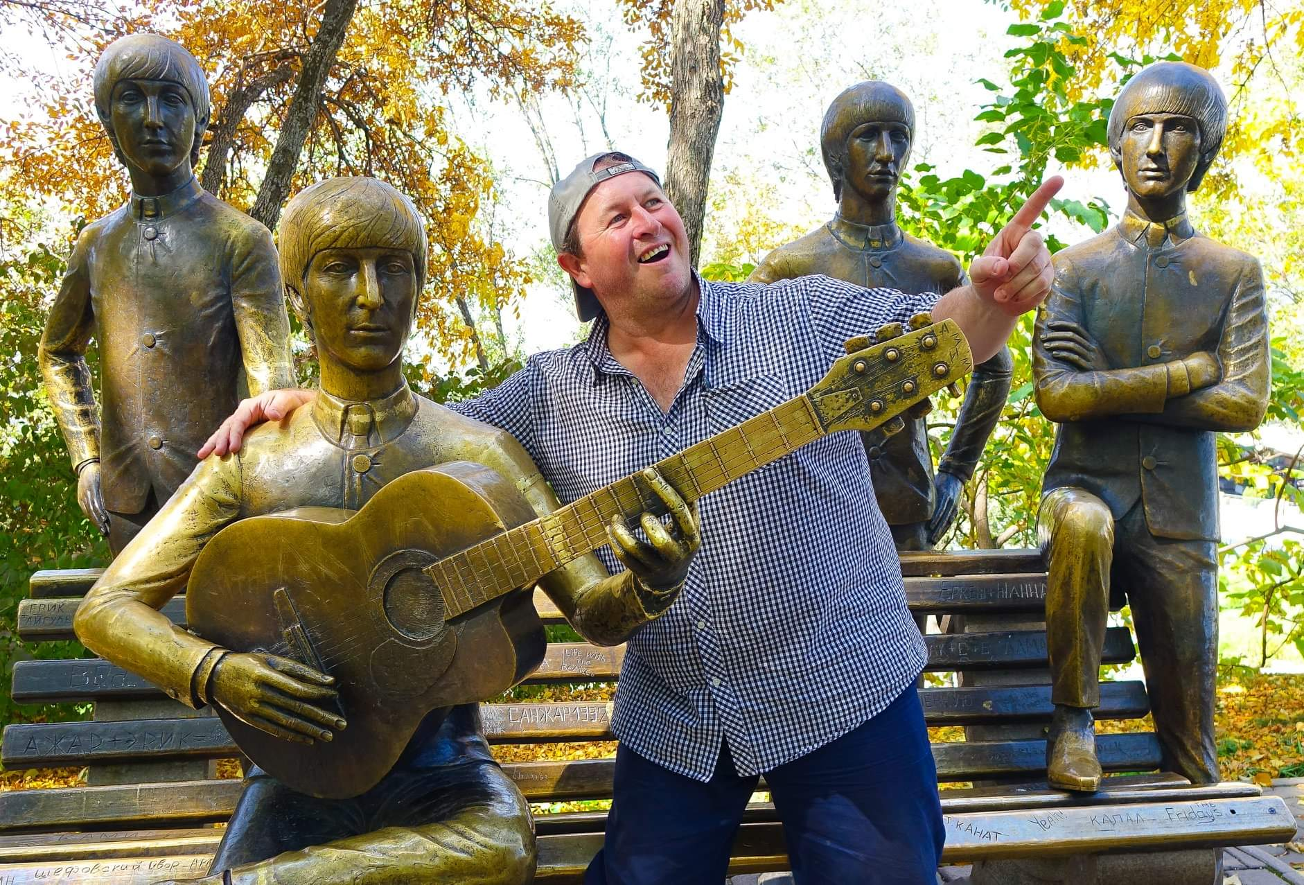 Almaty, Kazakhstan. Just hanging out with this unlikely statue of the Beatles