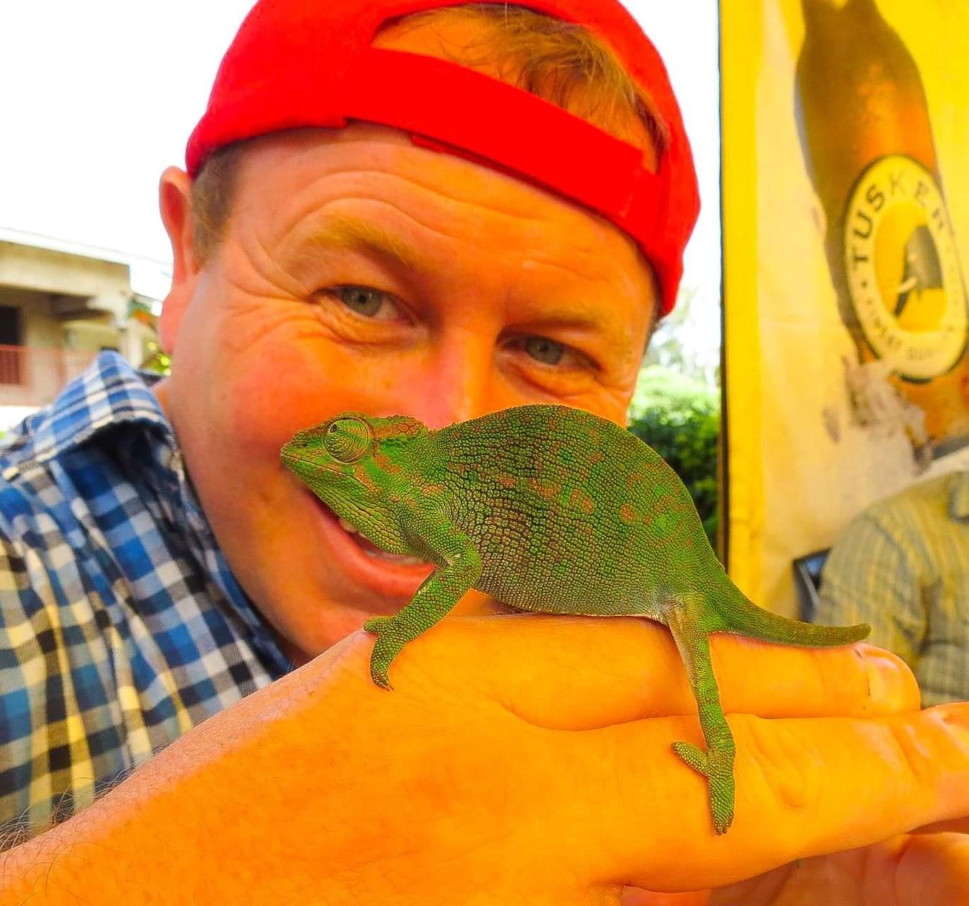 Arusha, Tanzania. My little Chameleon friend