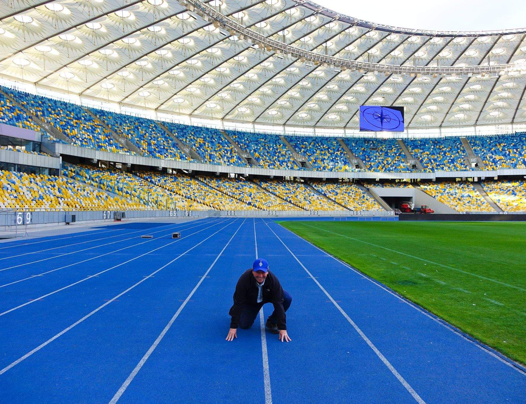 Kyiv, Ukraine. Getting ready to run at the Olimpiyskiy stadium