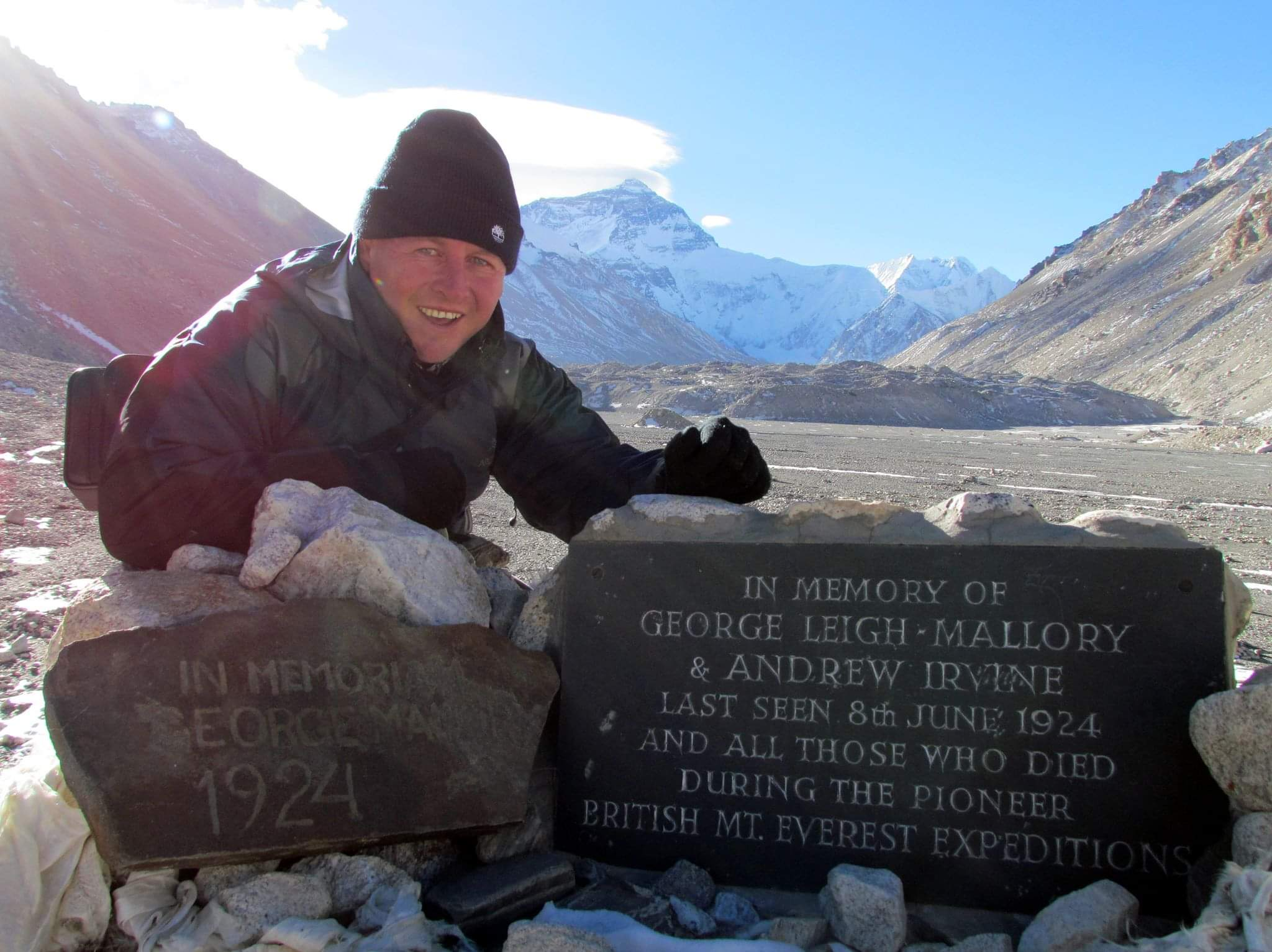 Mount Everest Base Camp, Tibet. Paying tribute to climbers Irvine and Mallory