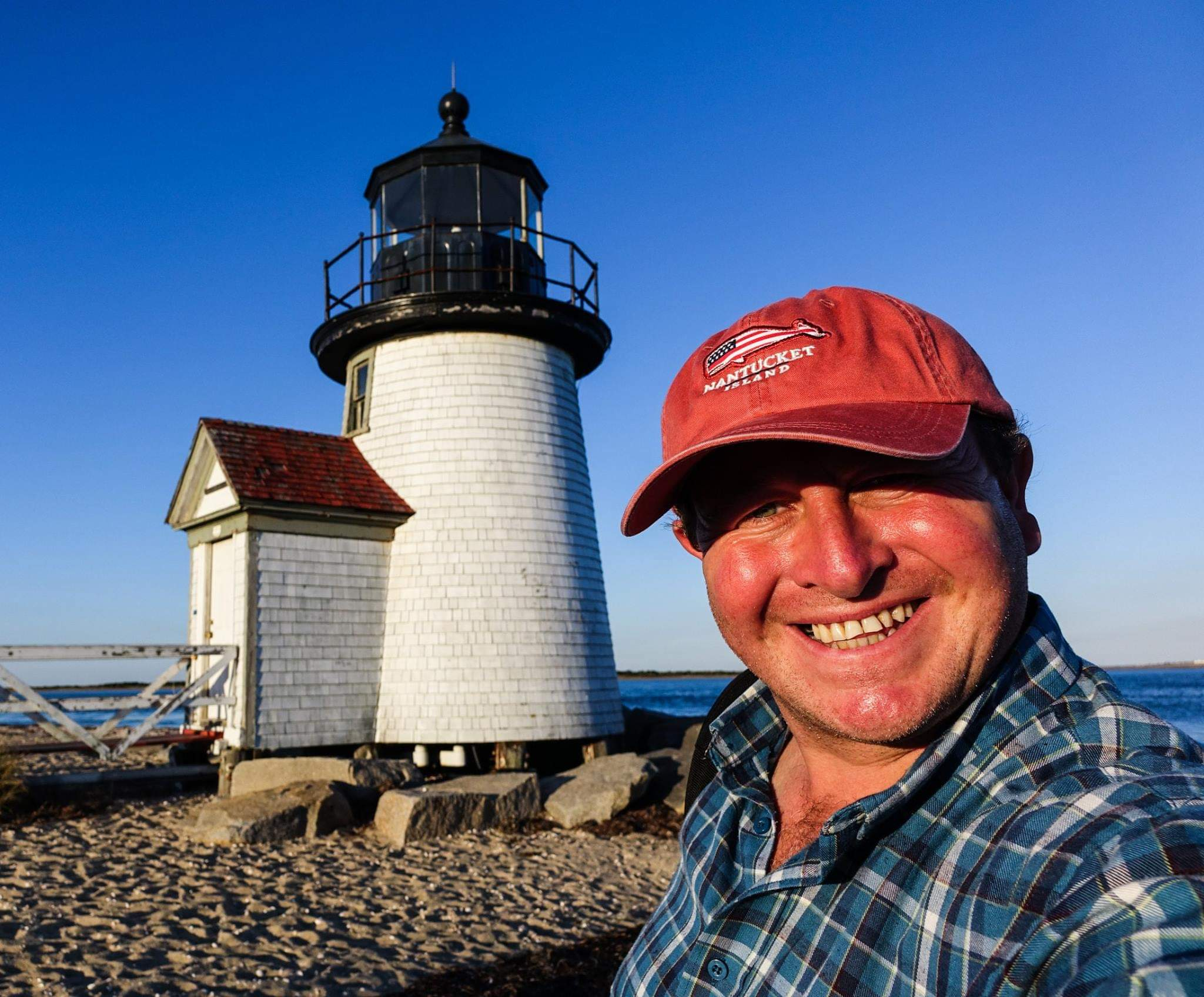 Nantucket, USA. Sunset at the cute Brant Point Lighthouse