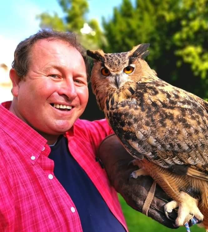 York, UK. Me and Olly, a 7 year old European Eagle Owl